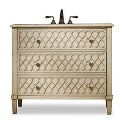 Cole + Co. Designer Series Mallory Single Bathroom Vanity - Go home again - or for the first time - with the charming, 1950s-inspired Cole + Co. Designer Series Mallory Single Bathroom Vanity. Crafted with durable hardwood solids, this classic cream-colored vanity boasts vintage, curved lattice work and cheerful, tonally matched sunflower pulls. Two storage drawers provide space for spare linens and toiletries. This vanity includes a Cole + Co. sink in your choice of Carlisle and Coventry styles in white or biscuit shades. Three pre-drilled faucet holes have an 8-inch spread.About Cole + Co.Cole + Co. has the expertise and knowledge to effortlessly marry functionality with style, taking the painstaking difficulty out of finding extraordinary pieces for the bathroom. Wood solids such as elm, alder and pine are combined with birch, cherry and aspen veneers for a truly custom and unique look. Currently available across the United States and Canada, Cole + Co.'s vanity units and accessories are moderately priced for the architect, home builder, designer and consumer.