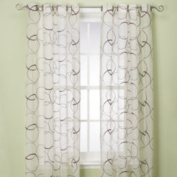 Spencer N. Enterprises - Orbitz Sheer Window Panel - With contrasting embroidery stitching and a great contemporary pattern, grommet window panels will be a stylish and modern addition to any room. 80% cotton/20% polyester with an all-polyester lining.