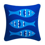 Wabisabi Green - Blue Fish Eco Pillow, Sapphire Blue/Shell White, Sapphire Blue/Shell White, 18x1 - With its retro-inspired fish print, this throw pillow will give your ocean-themed decor a twist. Try pairing it with a classic cabana stripe print for a nostalgic look, or mix in some colorful botanical prints for a more tropical effect. The pillow is made from a recycled polyester/organic cotton blend fabric and hand-printed with ecofriendly ink.