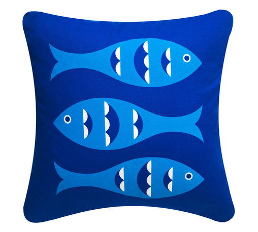 Wabisabi Green - Blue Fish Eco Pillow, Sapphire Blue, 18x18, Without Insert - With its retro-inspired fish print, this throw pillow will give your ocean-themed decor a twist. Try pairing it with a classic cabana stripe print for a nostalgic look, or mix in some colorful botanical prints for a more tropical effect. The pillow is made from a recycled polyester/organic cotton blend fabric and hand-printed with ecofriendly ink.