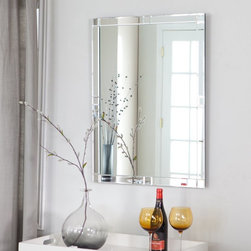 Decor Wonderland - Frameless Beveled Karnia Mirror - 23.6W x 31.5H in. Multicolor - SSM414 - Shop for Bathroom Mirrors from Hayneedle.com! Brighten up your home with this gorgeous avant-garde frameless beveled Karnia Mirror. The beautiful detailing around the edge along with the double coated silver backing with seamed edges makes this mirror a lovely addition to your home decor. Ability to hang vertically or horizontally gives you versatility in deciding on the perfect placement and room for this mirror. Constructed out of thick and strong 3/16 glass and metal for durability this mirror also comes with mounting hardware.Decor Wonderland of USDecor Wonderland US sells a variety of living room and bedroom furniture mirrors lamps home office necessities and decorative accessories. Decor Wonderland strives to add variety to their selection so that every home is beautifully and perfectly decorated to suit their customer's unique tastes.