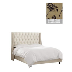 "Home Decorators Collection - Custom Dale Upholstered Bed - Our luxurious Custom Dale Upholstered Bed features a swoop arm wingback headboard with a double line of nail button trim on each wing. This generously tufted nailhead bed is upholstered by hand in your choice of gorgeous, top-quality fabric. Headboard includes diamond tufting and nailhead trim. Solid pine frame with metal legs. Includes upholstered bed panels. Fits standard high-profile 9"" box spring. Includes hardware and instructions. Assembled to order in the USA and delivered in 4-6 weeks. Spot clean only."