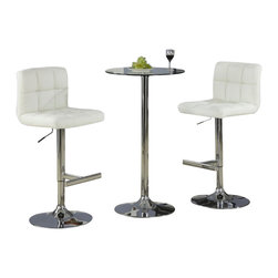 Coaster - Coaster Table with Tempered Glass Top 3 Piece Pub Set - Coaster - Pub Sets - 1203411203563PKG