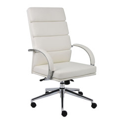 Boss - B9401 Caressoftplus Executive Series - White - Upholstered with breathable CaressoftPlus. High crown chrome base. 2 paddle spring tilt mechanism with infinite lock. Gas lift seat height adjustment. Adjustable tilt tension control. Hooded double wheel casters. Chrome arms with padded arm rests.