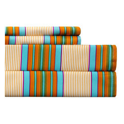 None - Spring Stripe Multicolored Sheet Set - Add a pop of color to any bedroom decor with this sheet set featuring stripes in a multicolored finish. Made of soft and durable microfiber, these sheets are machine washable for easy care and repeated use.
