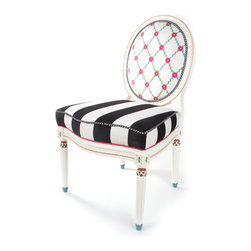 Merrifield Side Chair | MacKenzie-Childs - No wallflower, this one, with a hand-embroidered rose lattice pattern on the front and a bouquet of vibrant silk flowers in red, fuchsia, and orange on the back. The comfortable seat is upholstered in a bold black and white chenille awning stripe. Imported wood frame, masterfully carved in European beechwood and hand-painted by our artisans in Aurora.