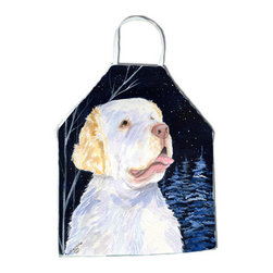 Caroline's Treasures - Starry Night Clumber Spaniel Apron - Apron, Bib Style, 27 in H x 31 in W; 100 percent  Ultra Spun Poly, White, braided nylon tie straps, sewn cloth neckband. These bib style aprons are not just for cooking - they are also great for cleaning, gardening, art projects, and other activities, too!