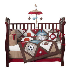 Sweet Jojo Designs - All Star Sports 9-Piece Baby Bedding Set by Sweet Jojo Designs - A style star is born! This athletic-themed cotton crib set is not just adorable, it's got nine pieces including a toy bag and diaper stacker so you and your little darling will have everything you need.