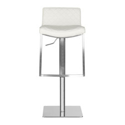 Safavieh - Claudio Barstool - Elegant diamond quilted white leather upholstery distinguishes the contemporary Claudio barstool. Designed with all the flair of a European couture piece, this modernist barstool is crafted of stainless steel with adjustable seat height. The Claudio barstool can be positioned from 30.71 to 43.31 inches in total height.
