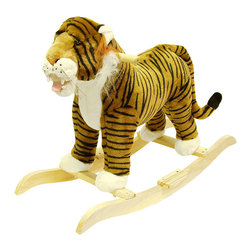 Happy Trails - Tiger Plush Rocking Animal - Recommended Weight Limit: 80  lbs.. Seat Height: 19 in.. Ages: 2 years and up. Color: Orange/Brown. 30.25 in. L x 14.25 in. W x 22 in. H (9 lbs.)