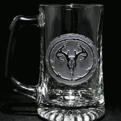 "Crystal Imagery, Inc. - Deer Skull and Antlers European Mount Beer Mugs, Engraved - Engraved deer skull beer mug, antlers beer mug, is a perfect gift for hunters or outdoorsmen, sportsmen. Deeply carved using our sand carving technique, each of our custom beer mugs is meticulously custom made to order making it the perfect gift for those seeking unique gift ideas for beer lovers - men and women alike. At 5.75"" high x 3"" wide, our beer mugs and glasses hold 15 oz. A set of these etched, engraved beer mugs will be the favorite gift at any special gift giving occasion. Dishwasher safe. SOLD AS A SET OF 4 BEER MUGS."