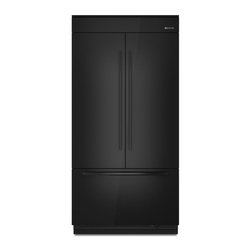 Jenn-Air Fully Integrated Built-in French Door Refrigerator - This refrigerator is just perfect for a simple kitchen space!