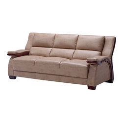 Global Furniture - Global Furniture USA A1411 Bonded Leather Sofa in Montana Buckskin - Finished in montana buckskin with mahogany accents on the arms and plush seat and back this contemporary sofa is a must have for your living space