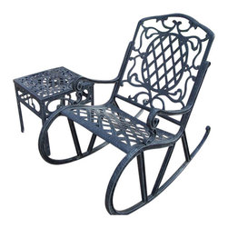 Oakland Living - Oakland Living Mississippi Cast Aluminum 2-Piece Rocking Set-Antique Bronze - Oakland Living - Rocking Chairs - 211421062AB - About This Product: