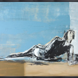 "Scandinavian Art Factory - ""Model 1""   - Large Artwork - This soothing piece of artwork captures that carefree feeling of how good it is to just stretch out and lounge. You're familiar with that sensation, right? The tranquil figure looks to be enjoying her quiet time. A rejuvenating day at the beach perhaps?"