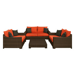 International Home Miami - Atlantic Oxford Deep Seating 4-Piece Patio Set in Orange - Great quality, stylish design patio sets, made entirely of high quality resin. No metal parts. I won't rust. Polyester cushion with water repellant treatment. Enjoy your patio with elegance all year round with the wonderful Atlantic outdoor collection.