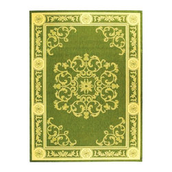 Safavieh - Rug in Olive and Natural with Scrolled Design (2 ft. x 3 ft. 7 in.) - Size: 2 ft. x 3 ft. 7 in. Machine Made. Made of Polypropylene.