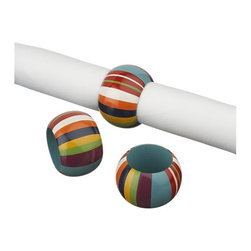 Belize Striped Napkin Ring - Add some colorful fun to your tablescape with these handpainted teak napkin rings from Crate and Barrel.