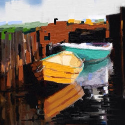 """LONELY BOATS Artwork - Giclee on museum grade canvas, 10x14"""", satin finish, stretched ready for framing."""