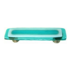 Uneek Glass Fusions - Aqua and White Glass Pull or Handle - Collection: Strato