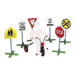 "Guidecraft - Guidecraft Drivetime Signs - Set of 6 - Guidecraft - Wooden Play Sets - G3060 - Enhance children's dramatic play with their favorite highway signs! 30"" tall pole and sturdy non-tip"