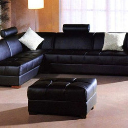 Contemporary Style Quality Leather L-shape Sectional
