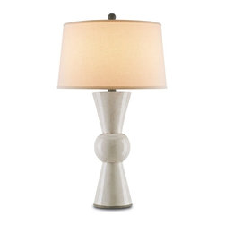 Currey & Co - Upbeat Table Lamp, Antique White - With a nod to mid-century modern design, the Upbeat Table Lamp showcases clean symmetry. Topped off with an Off White Linen shade, the understated Antique White finish of the terracotta body makes it ideal for use in a range of settings.