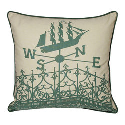 Kevin O'Brien Studio - Nautical Widows Walk Pillow, South Pacific - Our brightly colored nautical prints are screen printed onto 100% linen; piped edging; zip closure; feather/down insert included; designed in Philadelphia and made in Nepal