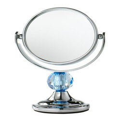 Home Decorators Collection - Home Decorators Collection Makeup & Vanity Mirrors Mini Me 3.25 in. x 4.75 in. - Shop for Decor at The Home Depot. Small in size the Mini Me Chrome Framed Makeup Mirror from Home Decorators Collection is big on both convenience and features for handy and accurate makeup application. Sleek and sharp with chrome construction and a decorative light blue finial this makeup mirror has 3 times magnification on one side and a normal view on the other. Easy to clean by simply wiping this piece is a must-have for a bedroom dressing room table and will add a nice touch to any decor.