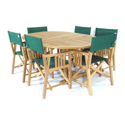 Westminster Teak Furniture - Martinique Teak Outdoor Dining Set - The Martinique Veranda Directors Chair Set comes complete with one Martinique Oval Teak Extension Table, Six Teak Directors chairs to complete this lovely wooden outdoor furniture set.