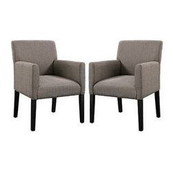 "LexMod - Chloe Armchair Set of 2 in Gray - Chloe Armchair Set of 2 in Gray - The ubitquitous design of the Chloe armchair, provides the perfect accent piece for a variety of settings. Chloe is an ideal accessory for those who love to shift their belongings and change up the room. The comfortable fabric armchair with four dark wooden legs can be utilized as in casual dining, office waiting room, or a subtle highlight in the living room. Chloe's engagingly neutral style will prove worthy again and again. Set Includes: Two - Chloe Wood Legged Armchair Versatile arm chair, Upholstered polyester fabric, Wooden legs Overall Product Dimensions: 25""L x 23.5""W x 34""H Seat Dimensions: 18""L x 16""W x 19""H Armrest Dimensions: 2.5""W x 9""HBACKrest Height: 16""H Cushion Thickness: 6""H - Mid Century Modern Furniture."