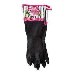 """Jessie Steele - Jessie Steele Peony Stripe Rubber Gloves - Functional and stylish vintage-inspired kitchen gloves from Jessie Steele. Convenient loop for hanging. EVA-coated printed cuff. One size fits most. 100% latex; Wipe clean.  Measures: 15.5""""h x 5.5""""w"""