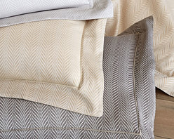 Corsica Shams- Euro - Linen - A crisp satin-stitched edge detail adds a tailored tone to the Corsica Sham's flange, a design element which alludes to the menswear roots of the upscale pillow cover's herringbone weave. Yet the final effect is a perfect mingling of the attractively polished with the invitingly soft. This timeless textile is woven from pure Egyptian cotton for an elegant, relaxed feel.