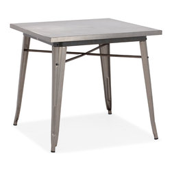 Zuo - Olympia Dining Table - The Olympia Dining Table has a unique design from the industrial era.  Resembling the base of a table saw, this table is rustic and stylish.  This steel dining table seats four and is great for any dining space including breakfast areas.  The Olympia Dining Table is small, but with its four legs reinforced with braces, this table is sturdy and durable.