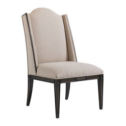 Stanley Furniture - Charleston Regency-Ashley Host Chair - A shallow shelter back bordered in Classic Mahogany frames the Petite Braided Trellis fabric of the Ashley Host Chair.