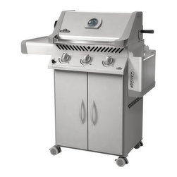 """Napoleon - Napoleon Prestige P308RB Grill with Rear Burner & Rotisserie Kit - P308RBPSS-7 - Shop for Grills from Hayneedle.com! The product specialists at Hayneedle have been extensively trained by the manufacturer of Napoleon grills. These specialists know the product inside and out top to bottom front to back. They're here to help you with every step of your Napoleon grill purchasing process. Learn everything you need to know as you customize your grill island with drawers doors pizza ovens and more! Call 866-579-5183 to speak with a product specialist and start building your dream grill island today. Hours: Monday-Friday 9 a.m.-7 p.m. E.T. The Napoleon Prestige P308 Grill with Rear Burner is an impressive grill complete with a galvanized cart for easy mobility and added storage With patented stainless steel burners sear plates shelves and more it's got everything you need to heat things up. A heavy-duty roll-top lid provides oven-like heat retention and porcelainzed cast iron reversible wave cooking grids give the meat that signature WAVE design synonymous with the Napoleon grills. Two stainless steel tube burners a warming rack and more fine features also come standard on this handsome unit that'll look great on the patio or in the backyard. But this unit's most unique feature is an infrared rotisserie burner offers up a fine restaurant quality sear and cuts energy costs. The Prestige P308 grill fires up using an easy-to-operate electronic ignition system and its exterior is flanked by two folding stainless steel side shelves great for setting aside food plates or the rubs and sauces you plan to use on the sizzling feast before you. This grill even rolls on heavy-duty casters for maximum mobility. Battery included for electronic ignition. Also included is the drip pan and removable grease cup for easy cleaning. Additional Information LIFT EASE stainless steel roll top lid with cast aluminum """"no-rust sides"""" that allow zero-clearance installation from the rear EAS"""