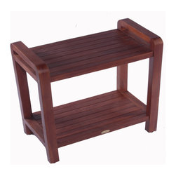 Hudson Reed - Hudson Reed Ergonomic Teak Spa Bench with Shelf and Lift Aide Arms - Elegant yet practical this high quality Ergonomic solid teak bench with shelf and Lift Aide arms will enhance the overall look and feel of your spa-style bathroom or shower room. With specially designed sturdy arms to make lifting yourself off the bench much easier this stylish spa bench has a useful shelf for your toiletries or spare towels which ensures of a more organized space.  The robust ergonomic spa bench has been constructed from solid teak for long lasting use and has been treated with a unique stain that penetrates deep into the wood, which is resistant to mold and mildew making it perfect for use in a bathroom environment.  Dimensions: 24 length x 13 width x 18 height.