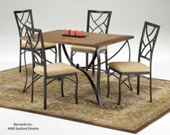 Bernards Sanford 5 piece Wood & Metal Dining Set - If less is more the Sanford 5 pc. Wood & Metal Dining Set has you covered. Complete with a durable hardwood table top that shines under polish this dining set features a sleek black metal frame that curves and connects in a modern design - perfect for contemporary palates. The set is finished with four equally modern chairs with artistic backs and fabric cushioned seats. An ideal set for someone who wants to create an understated ambianc without overpowering. Assembly required. Table dimensions: 48.25L x 37W x 29H inches. Chair dimensions: 18W x 20D x 40H inches. Seat height: 18 inches. About BernardsBernards is an importer and distributor of residential home furnishings. They offer products for all rooms at affordable prices and styles from traditional to contemporary. In order to bring the best values to their customers Bernards shops the world for specialties to meet the needs and desires of their retailers and customers. Located in Archdale NC. Bernards was founded in 1983 by Herman Bernard a pioneer in furniture importing. He set the standard for integrity that has been the foundation of the company ever since. You can count on Bernards to give you the facts and stand behind the products they sell.