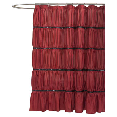 Lush Decor - Twinkle Red Shower Curtain - Includes 1 Shower curtain. Fabric Content:100% Polyester. Care Instructions: Dry clean. 72 in. W x 72 in. H This shower curtain made from high quality microfiber really creates a glittering atmosphere for your bathroom with rows of sequins set off by ruching the fabric which gives the surface a soft rippling effect. Bring a little Hollywood right into your home.