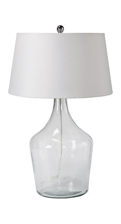 Regina Andrew - Regina Andrew Recycled Glass Bottle Lamp - A curvaceous base lends this Regina Andrew glass bottle lamp clear and contemporary style. Paired with a white round shade, the light fixture illuminates side tables with refined panache. Recycled glass; Accepts one 150w max bulb (not included); 3-way turn knob