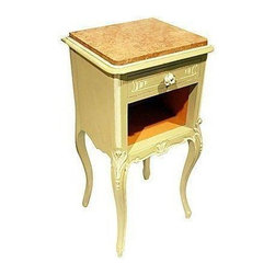 French Painted Marble Nightstand - Here's a lovely circa 1880s French hand carved walnut nightstand with rococo carvings, cinnamon marble top, and a marble lined interior. It features a single drawer with new porcelain rose knob, freshly hand painted with Chalk Paint��� and a durable wax finish.