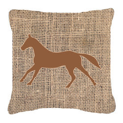 Caroline's Treasures - Horse Burlap and Brown Fabric Decorative Pillow BB1003 - Indoor or Outdoor pillow made of a heavy weight canvas. Has the feel of Sunbrella fabric. 14 inch x 14 inch 100% Polyester Fabric pillow Sham with pillow form. This pillow is made from our new canvas type fabric can be used Indoor or outdoor. Fade resistant, stain resistant and Machine washable.
