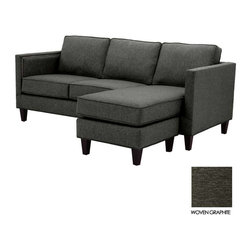 Apt2B - Anderson Reversible Chaise Sofa, Woven Graphite - Like America's favorite news personality, the Anderson is clean cut and straightforward at first, but once you get to know it a little better, it has a pretty snappy personality. Dress this one up any way you like too- throw a couple of pillows on this bad boy for a really special look!