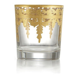 Arte Italica Vetro Gold DOF Glass - Artisans outside of Florence, beautifully combine luxurious materials, intricate detail and subtle touches. This piece is hand-etch and painted with 24-karat gold highlights. Italian glass, Hand made in Italy.