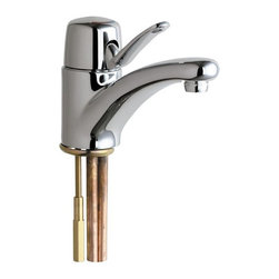 Chicago Faucets - Chicago Faucet 2200-ABCP Single Hole Bathroom Faucet Multicolor - 479974 - Shop for Bathroom from Hayneedle.com! Elegance refined the Chicago Faucet 2200-ABCP Single Hole Bathroom Faucet knows you don't need distracting details or pointless frills to command attention. Its simple streamlined look is all you need to transform your decor anew constructed from sturdy solid brass and featuring a study of soft lines and gentle curves. A single lever handle provides users with precision control over the water's flow-rate and temperature mix backed by a ceramic disc valve cartridge that helps prevent pesky leaks and drips. A handsome polished chrome finish plates the metal protecting the piece from rust scratches and corrosion damage. The curved spout comes with a built-in aerator to guarantee a smooth stream free of splash-back and makes sure that the spray-face remains clean from mineral build-up and limestone residue. All the necessary installation hardware (including stainless steel supply hoses) is included. A drain assembly is not included. The unit has been certified by numerous American compliance organizations including the ADA the CSA the ANSI and the ASME.Product Specifications:Made in the USA: YesADA Compliant: YesLow Lead Compliant: YesHole Diameter: 1.38 inchesNumber of Holes: 2Number of Handles: 1Handle Type: LeverValve Included: YesInstallation: Deck MountFlow Rate: 2.5 GPMOverall Height: 5.875 inchesSpout Height: 2.375 inchesSpout Reach: 4.75 inchesSwivel: NoAbout Chicago FaucetsFounded in 1901 Chicago Faucets had its breakthrough moment in 1913 when founder A.C. Brown invented the Quaturn cartridge. The replaceable self-contained cartridge turned water flow from off to on with just a quarter-turn of the handle. It was interchangeable with other Chicago Faucets products - and though it s been updated through the years any Quaturn is still interchangeable with cartridges like it from 1913. Now part of the Geberit Group Chicago Faucets is s