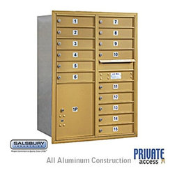 Salsbury Industries - 4C Horizontal Mailbox - 11 Door High Unit - Double Column - 15 MB1 Doors / 1 PL5 - 4C Horizontal Mailbox (Includes Master Commercial Lock) - 11 Door High Unit (41 Inches) - Double Column - 15 MB1 Doors / 1 PL5 - Gold - Rear Loading - Private Access