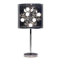Adesso - Starburst Lamp, Table Lamp - Each Starburst lamp has a chrome stick pole and flat round base with a dark gray tinted translucent shade reminiscent of a film negative. The PVC drum shade is also reflective and surrounds a chrome sphere from which 12 candelabra base sockets extend, each holding a 25 watt round frosted bulb (included).