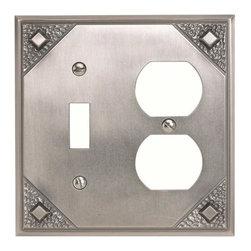 Atlas Homewares - Atlas Mcco-P Craftsman Combination Outlet Switch Plate Pewter - Atlas Mcco-P Craftsman Combination Outlet Switch Plate Pewter