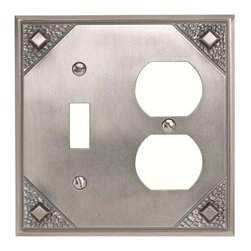 Atlas Homewares - Atlas Mcco-P Craftsman Combination Outlet Switch Plate Pewter - Atlas Mcco-P Craftsman Combination Outlet Switch Plate Pewter