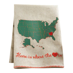 """Home is Where the Heart Is Dishtowel - Linen hand towel features printed Unites States map and embroidered message. Movable lapel pin heart marks """"HOME is where the heart is."""" Makes sweet housewarming or moving gift and fabulous sentiment for out-of-town loved ones."""
